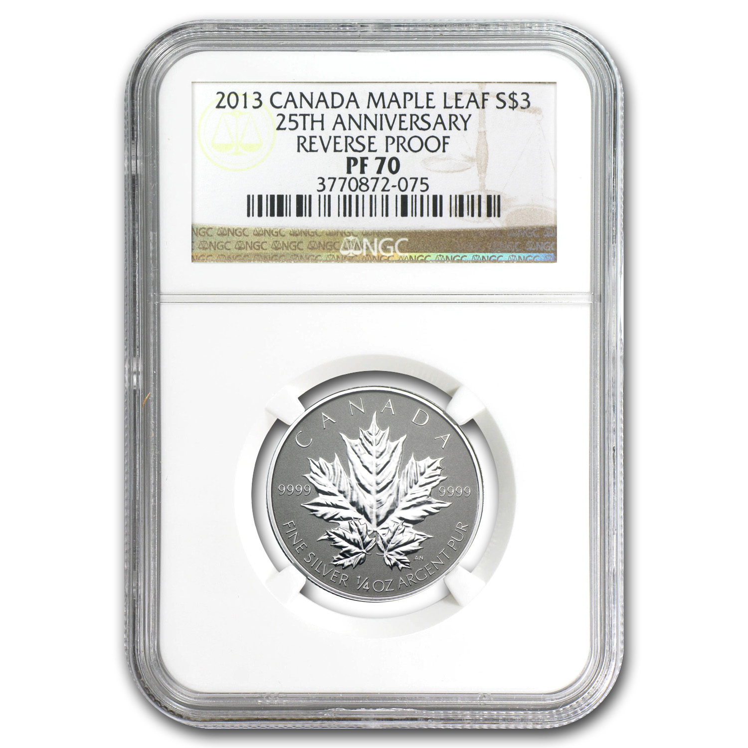 2013 Canada 1/4 oz Silver $3 Maple Leaf 25th Anniv PF-70 NGC